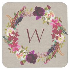 Marsala Burgundy Boho floral wreath monogram Square Paper Coaster - bridal shower gifts ideas wedding bride