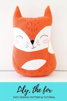 Fox plush pattern & tutorial for experienced beginners, Christmas gift idea kids will love. 12 page PDF with the template, instant download, and detailed step by step photo sewing tutorial. Measurements in inches and centimeters. Included an explanation of all embroidery stitches used and some tips & tricks for sewing stuffed toys. Easy, simple, cute stuffed toy, kids will love, especially, because it will come from you. Happy sewing! :) Animal Sewing Patterns, Easy Sewing Patterns, Sewing Tutorials, Fox Stuffed Animal, Stuffed Animal Patterns, First Sewing Projects, Plush Pattern, Fabric Markers, Cute Fox
