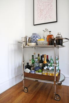 Our new @potterybarn Bar Cart | The Neo-Trad