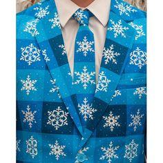 Dit blauwe pak in sneeuwvlok/winterprint is verreweg het coolste pak onder nul en een gegarandeerde hit op elk feestje. Het pak is gemaakt van hoogwaardig polyester en wordt geleverd met bijpassende stropdas.