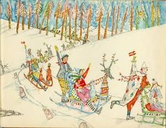 Master of Swiss Illustration: Alois Carigiet on penccil Hans Christian, Book Illustrations, Children's Book Illustration, Let It Snow Book, Illustrator, D Book, Picture Wall, Golden Age, Reindeer
