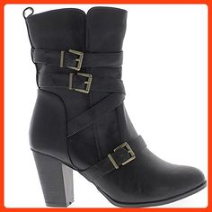 Ankle boots woman filled large size black heel 9 cm leather with 4 clamps - 9 (*Partner Link)