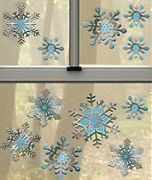Silver & Blue Snowflakes 3-D Window Clings Decoration Large (1 sheet with 11 clings)