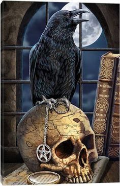 Canvas Wall Art by Lisa Parker Crow Art, Raven Art, Dark Fantasy Art, Dark Gothic Art, Beautiful Dark Art, Skull Artwork, Gothic Artwork, Arte Obscura, Occult Art