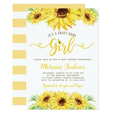 Sunflower Girl Summer Floral Baby Shower Invitation - tap/click to personalize and buy #Invitation  #baby #shower #invitation #boy #baby Baby Girl Shower Themes, Baby Shower Invitations For Boys, Baby Boy Shower, Sweet 16, Sunflower Baby Showers, Sunflower Party, Sunflower Garden, Sunflower Fields, Baby Shower Invitaciones