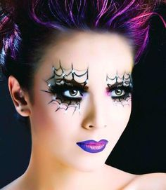 Fun Make Up For Spider Web Liner Purple Lips Inspiration Red Lip Makeup, Crazy Makeup, Maquillage Halloween, Halloween Makeup, Pretty Halloween, Reindeer Makeup, Smokey Eyeshadow, Eye Makeup Steps, Purple Lips