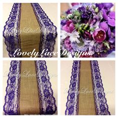 Peacock Burlap Lace Table Runner Purple Lace, 5ft-10ft x 13in Wide, Rustic Weddings, Wedding Decor/Peacock Weddings/etsy finds by LovelyLaceDesigns on Etsy