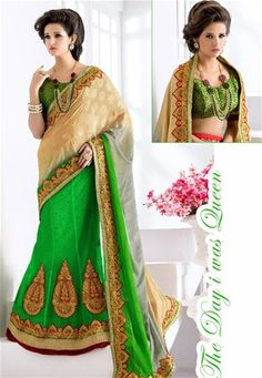 Shop designer green net and jacquard lehenga style saree , freeshipping all over the world , Item code Lehenga Style Saree, India Beauty, New Trends, Canada, Australia, Lady, Green, How To Wear, Shopping