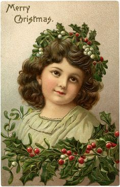 Christmas Holly Girl Image - So Beautiful!! - The Graphics Fairy