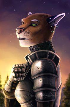 """Female Khajiit knight. """"Khajiit"""" by Sythgara on DeviantArt.com."""