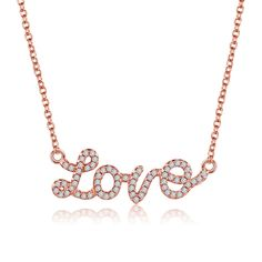 [$7.07] Diamond Necklace Love Letters  Including Chain (Colour: Rose Gold, Purity: Sterling Silver)