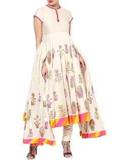 Shop Off White Cotton Silk Kalidar Suit Set By Rohit Bal online at Biba.in - RB#4010OWHT