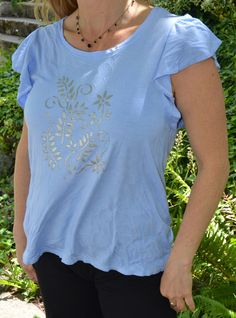 A personal favorite from my Etsy shop https://www.etsy.com/listing/232620097/womens-sky-blue-cotton-summer-ladies