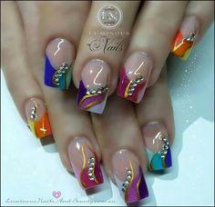 Black white and silver nails, Luminous Nails Rainbow Nail Art Designs, Cute Nail Designs, Pretty Nail Art, Beautiful Nail Art, Summer Acrylic Nails, Summer Nails, Acrylic Gel, Fabulous Nails, Gorgeous Nails