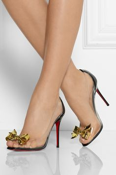 CHRISTIAN LOUBOUTIN Justinodo 100 embellished PVC and patent-leather pumps $995