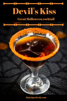 Use your Perfect Drink Scale and App to make another great Halloween cocktail. The mixture of sugar and cayenne pepper rimming the glass adds a spicy-sweet hotness that takes this drink over the top. Halloween Cocktails, Halloween Desserts, Halloween Food For Party, Alcholic Halloween Drinks, Halloween Shots, Halloween Fingerfood, Beste Cocktails, Liquor Drinks, Beverages