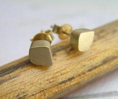 Solid Gold Stud Earrings, 14k Gold Freeform Cube Post Earrings