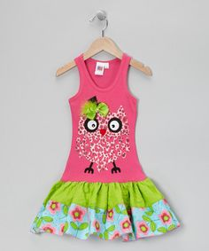 Take a look at this Hot Pink & Lime	 Cheetah Owl Ruffle Dress - Toddler & Girls by Bubblegum Diva on #zulily today!