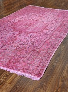 108x64 Inches Overdyed Carpet Pink Tones Carpet VINTAGE Carpet Turkish Rug Wool And Cotton  Carpet Handmade Carpet Free Shipping $769