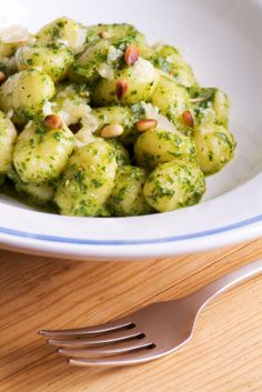 Homemade gnocchi and pesto