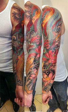 94a769dbb5a8e Daily Garlic: Dragon and koi fish sleeve (Adam Sky, Rose Gold's Tattoo, San  Francisco, CA)