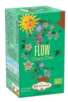 Tisana FLOW:                                          Ingredients: cocoa shells* (45%), cinnamon*, liquorice*, carob*, ginger*, roasted chicory*, cardamom*, black pepper*, corn silk*, cloves*. * =  organic   Content: 16 Tea Bags, Weight 32 g (16 x 2 g)