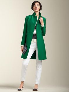 "Remember that green coat from ""The Devil Wears Prada"" This one's from Talbots, in silk faille."