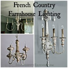 French Country farmhouse style chandeliers and sconces with resources www.serendipityrefined.com