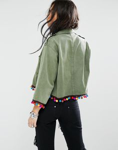 Image 2 of Milk It Vintage Cropped Shirt Jacket With Pom Pom Trim
