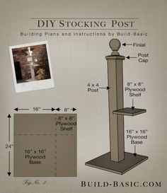 a DIY Stocking Post by Build Basic - Build Basic www. Christmas Stocking Stand, Christmas Wood, Christmas Projects, All Things Christmas, Christmas Stockings, Christmas Holidays, Christmas Ornaments, Christmas Ideas, Christmas Labels