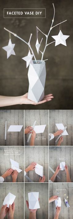We've always wanted to build origami shapes, but it looked too hard to learn. Turns out we were wrong, we found these awesome origami shapes. Diy Origami, Vase Origami, Origami Paper, Diy Paper, Paper Crafts, Paper Vase, Origami Tutorial, Art Tutorial, Origami Ornaments
