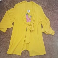 Ivy Jane Wrap/Cardigan Mustard/Gold with tie front and embroidery on back Size S Excellent Condition! Perfect for Rodeo Season! Ivy Jane Jackets & Coats Jean Jackets