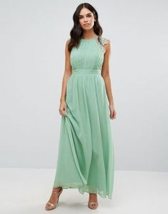 Little Mistress Lace And Pleat Maxi Dress