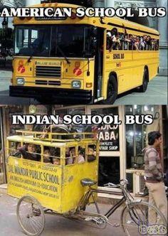 American school buss vs Indian School buss