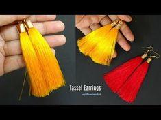 How to make silk thread Tassel earrings Silk Thread Necklace, Silk Thread Bangles, Thread Jewellery, Jewelry Making Tutorials, Jewellery Making, Bangles Making, Diy Leather Tassel, Diy Tassel Earrings, Bead Earrings