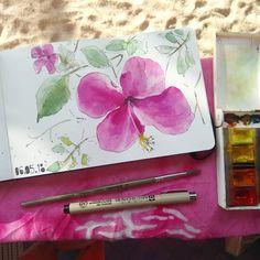 Hibiscus flower sketch Watercolor sketch on Moleskine