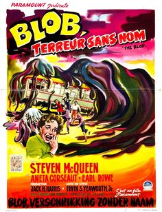 Movie poster, for the 1955 motion picture, THE BLOB.