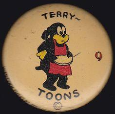 1930s TERRYTOONS Series 9 CARTOONS Western Theatre Premiums Pinback Button Pin