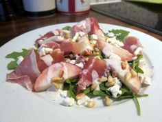 July: peaches (with prosciutto, feta and pine nuts)