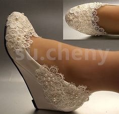 """1"""" 2"""" White ivory pearls lace snowflakes wedges Wedding shoes Bride size 5-10.5"""