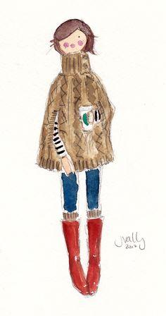 PONCHO - ORIGINAL WATERCOLOR (self-portrait)