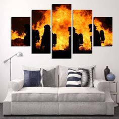 Firefighters in Action Multi Panel Canvas