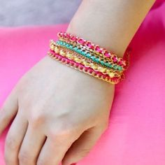 Double Chain Bracelet Double chain pink friendship bracelet made of thread, gold plated base metals and crystals nickel and lead free T&J Designs Jewelry Bracelets