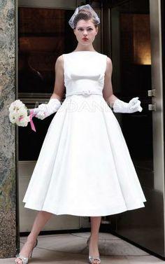 Robe robe de mariée vintage ceinture longueur aux chevilles en taffetas [#M1406185625] - modanie