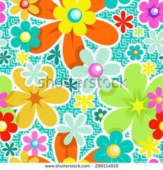 Seamless Floral Pattern for Textile Design. Abstract Vector Background. Mix of Flowers on Turquoise