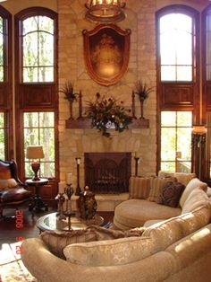 This family room is downright baronial.  baronial is a good description for my style.