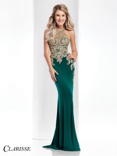 Clarisse Gold Lace Embellished Prom Dress 4819. Unique dark green prom dress. | Promgirl.net
