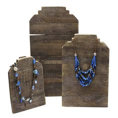 Reclaimed Wood Stepped Easel Necklace Display    Crafted from reclaimed, re-purposed wood, this display offers a rustic look that highlights a variety of jewelry metals and necklace styles—each display provides a one-of-a-kind pattern of woodgrain and weathering. Wood Jewelry Display, Necklace Display, Necklace Holder, Earring Display, Jewellery Display, Bold Jewelry, Metal Jewelry, Jewelry Findings, Custom Jewelry