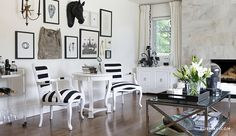 Love this whimsical equestrian gallery wall in black and white - makes this space soo personal By | Rue