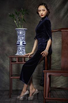 Chinese Haute Couture Long Style Cheongsam Gowns Dark Blue - $242 - SKU: 037622 - Custom Now: http://elegente.com/redshop.html #REDPALACE #Cheongsam #Qipao